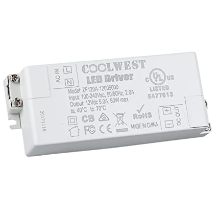 coolwest 60w 12v power supply driver transformer for led flexible rh amazon com