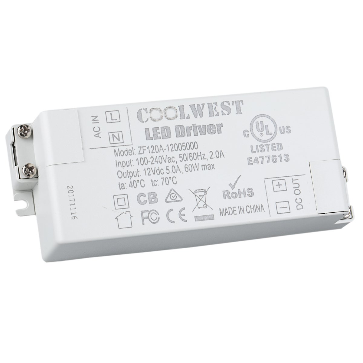 COOLWEST Transformer Driver Power Supply 60W 12V for LED Strip Lights and G4, MR11, MR16 Light Bulbs