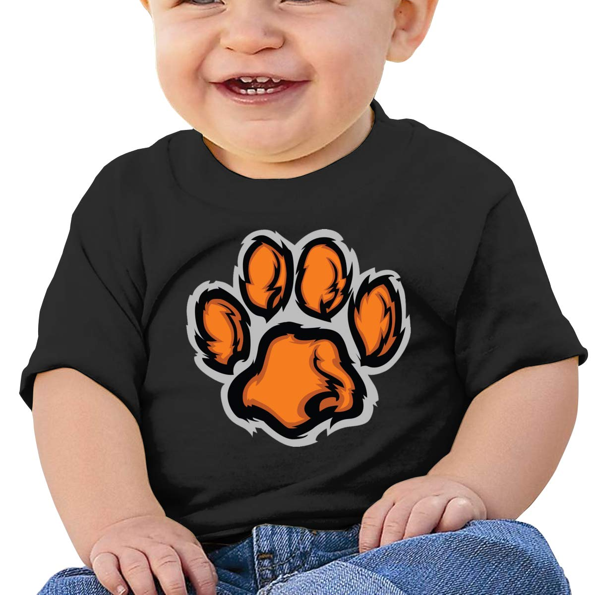 Hazhisha Tigers Feet Baby T-Shirt with Round Collar and Pure Cottonblack