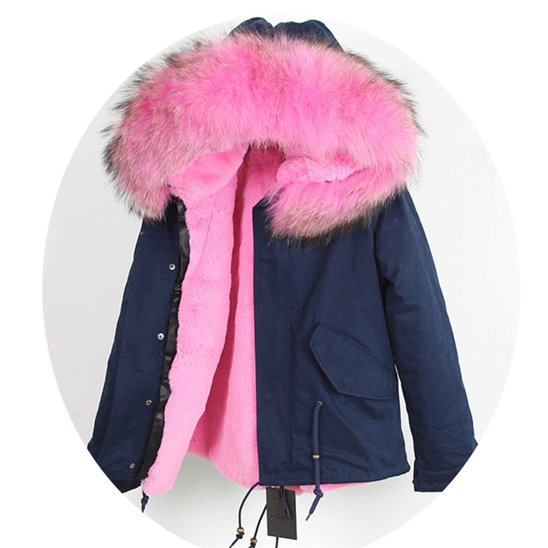 4 EnjoySexy Parka Winter Jacket Coat Women Natural Raccoon Fur Collar Hooded Warm Soft Faux Fur Liner