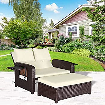 Superior Cloud Mountain 2 Piece Rattan Wicker Love Seat Sofa Daybed Set Outdoor Patio  Love Seat With