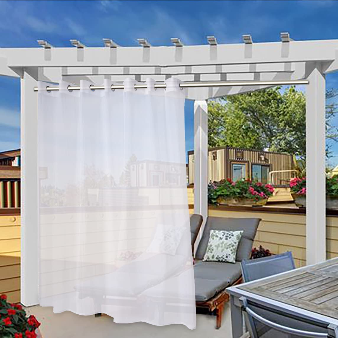 FLOWEROOM Sheer Outdoor Curtains for Patio Waterproof, White, 100 x 84 Inches Long - Indoor Extra Wide Privacy Voile Drapes, Grommet Semi-Sheer Curtains for Bedroom, Pergola, Porch and Gazebo, 1 Panel
