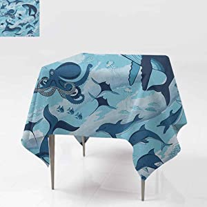 AndyTours Washable Square Tablecloth,Shark,Inhabitants of Ocean Sharks Whales Dolphins Octopus Jellyfish Starfish with Waves Image,Party Decorations Table Cover Cloth,50x50 Inch Blue