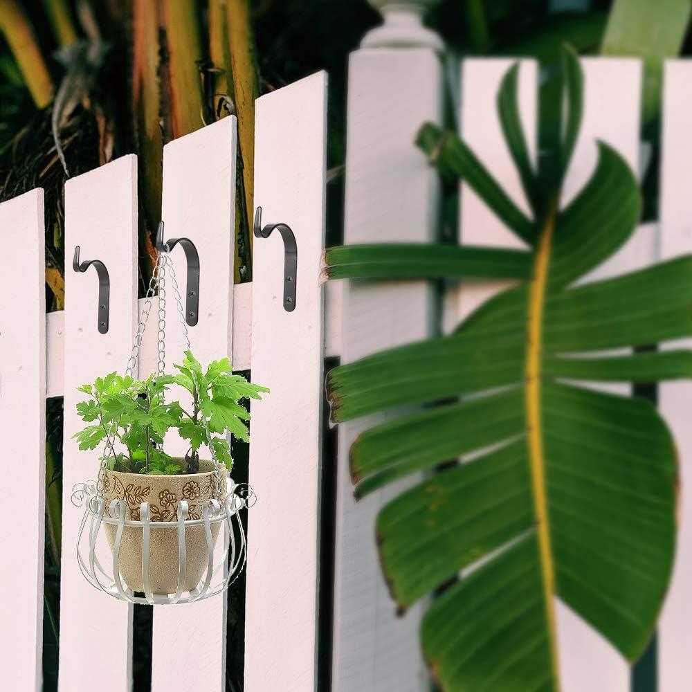 Ali 10pcs Iron Wall Hooks Brackets Heavy Duty Plant Hook Metal Outdoor Garden Wall Hook For Hanging Plants Bird Cage Black Baskets Planters Lantern Gardening Accessories