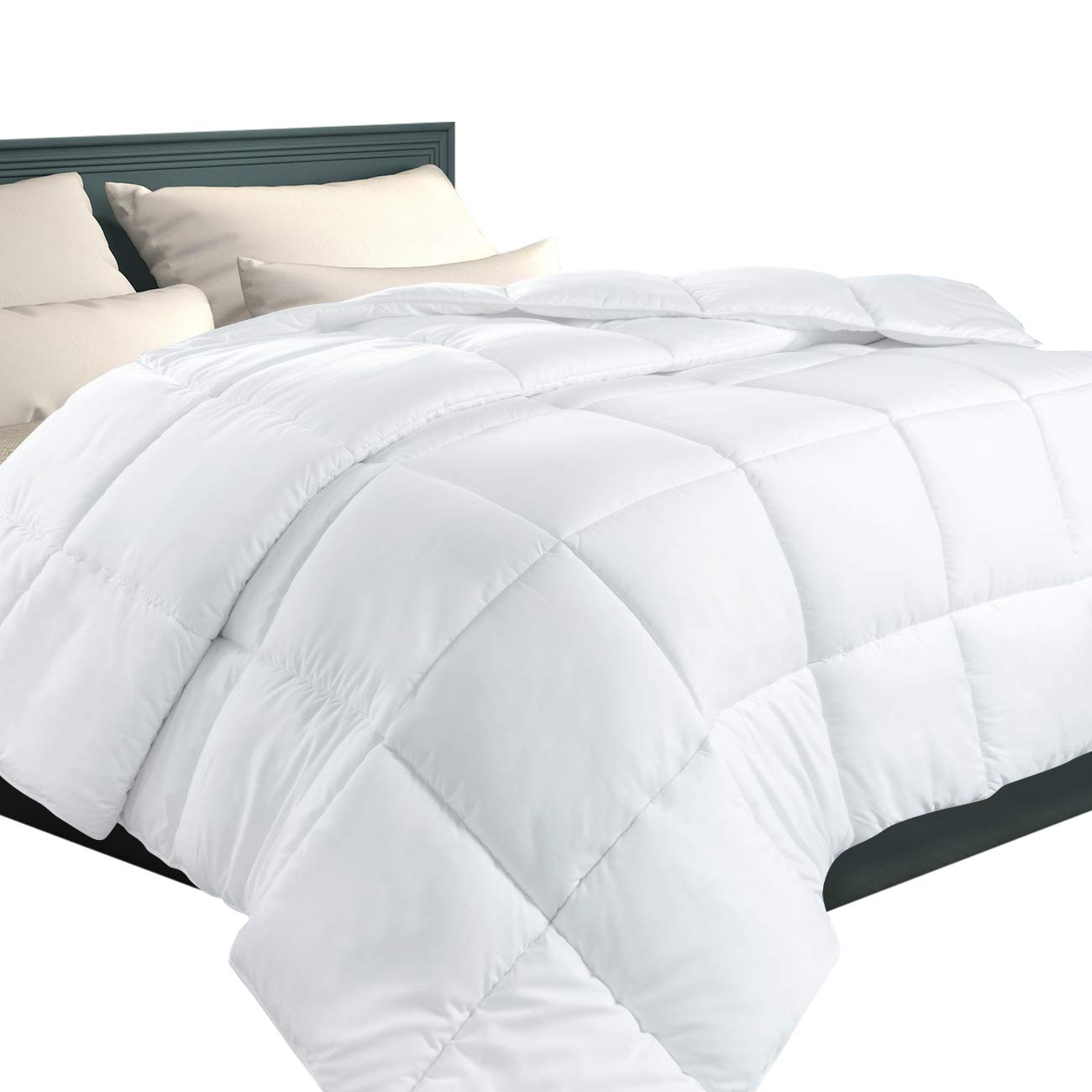 EcoMozz King Comforter with Corner Tabs - All Season Down Alternative Comforter - Soft Warm Quilted Duvet Insert - Hypoallergenic Fluffy Hotel Collection - White