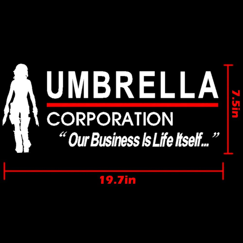 Style G-White-1 pcs YSpring 19.77.5in Resident Evil Alice Decal Car Umbrella Corporation Vinyl Sticker for Car Body Door Window Decoration