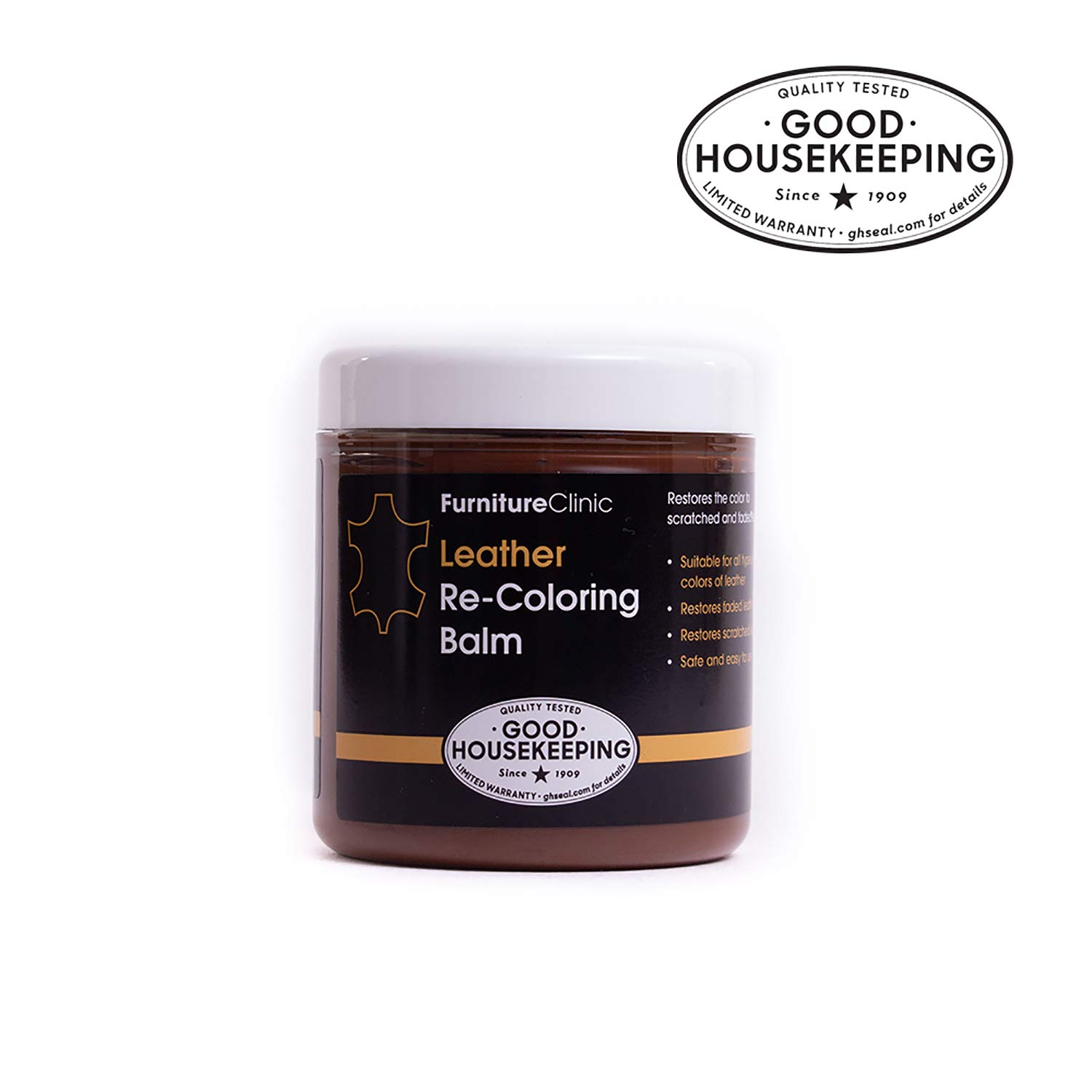 Furniture Clinic Leather Recoloring Balm - Renew, Restore & Repair Color to Faded and Scratched Leather   21 Color Choices, Works on Couches, Car Seats, Clothing & Purses - 8.5 Fl. Oz (Dark Brown)