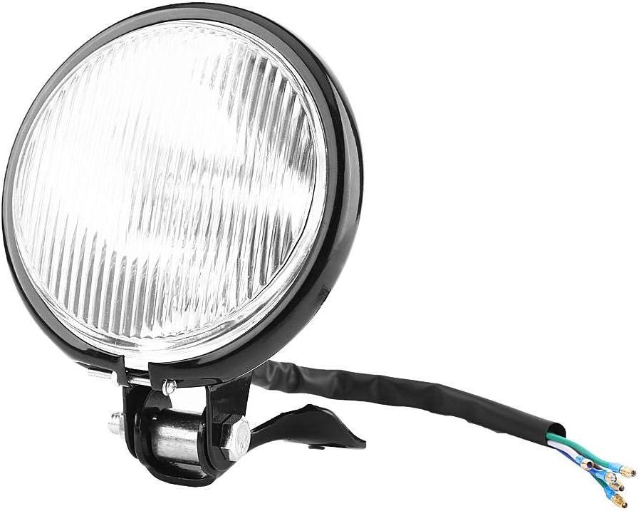 Coque en verre jaune coquille noire Phare de moto de 5 pouces ampoules de phare des v/éhicules /à moteur efficacit/é lumineuse phare de phare de moto