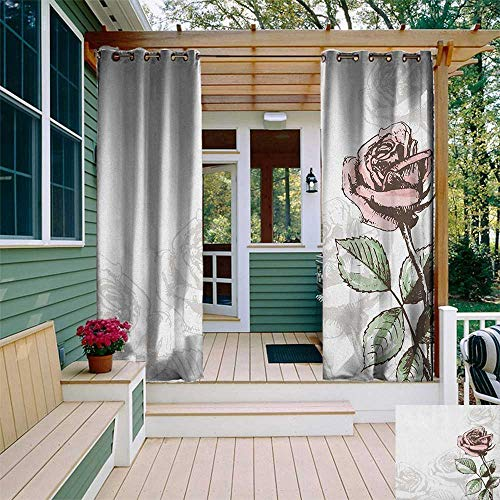 leinuoyi Rose, Outdoor Curtain Pair, Victorian Antique Design Sketchy Stem with Blossom and Faded Flourish, Outdoor Curtain for Gazebo W84 x L108 Inch Pale Green Pale Pink Brown ()