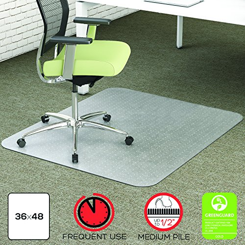 - deflecto CM1K142PET EnvironMat Recycled Anytime Use Chair Mat for Med Pile Carpet, 36 x 48, Clear