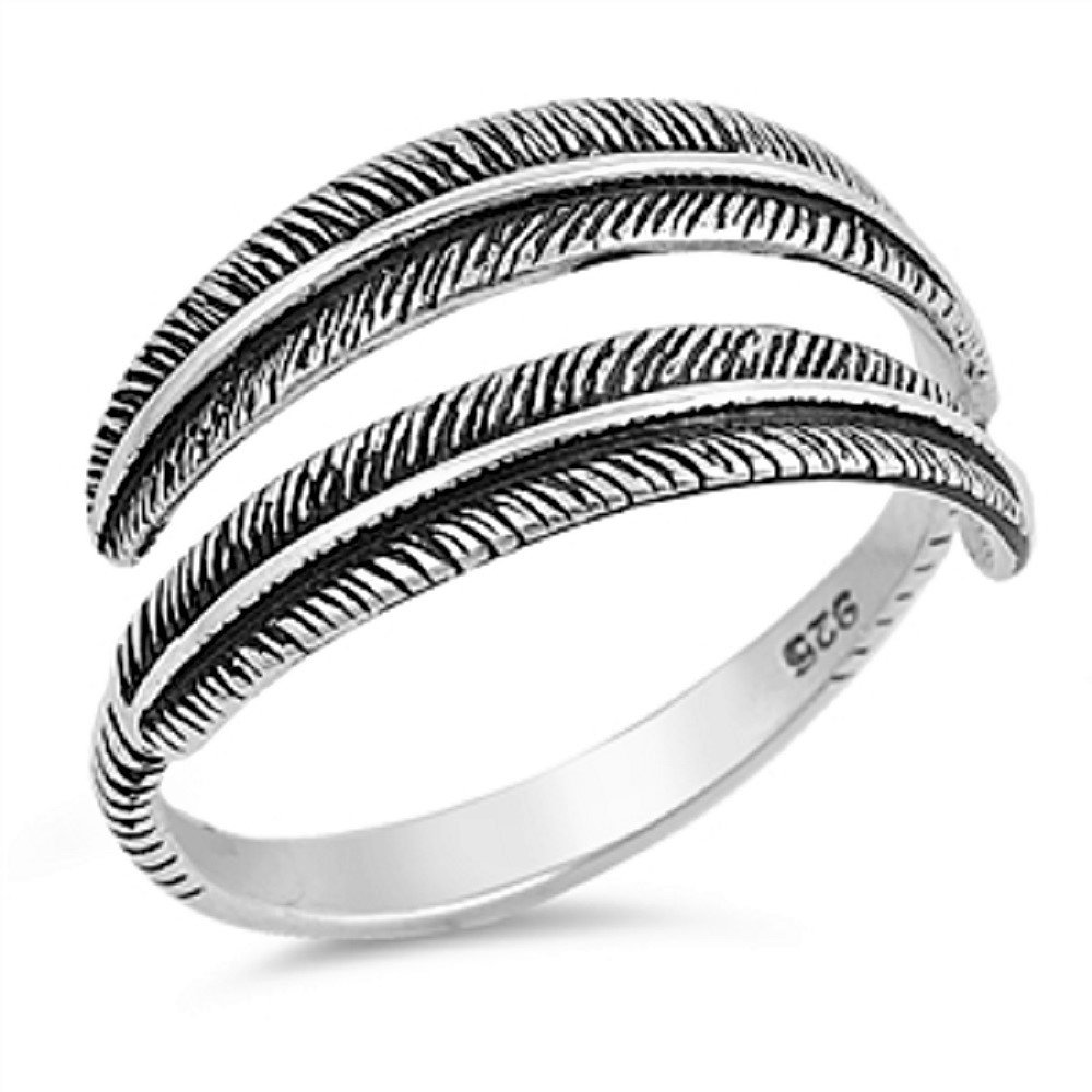 925 Sterling Silver Antiqued Feather Oxidized Open Designer Ring (10)
