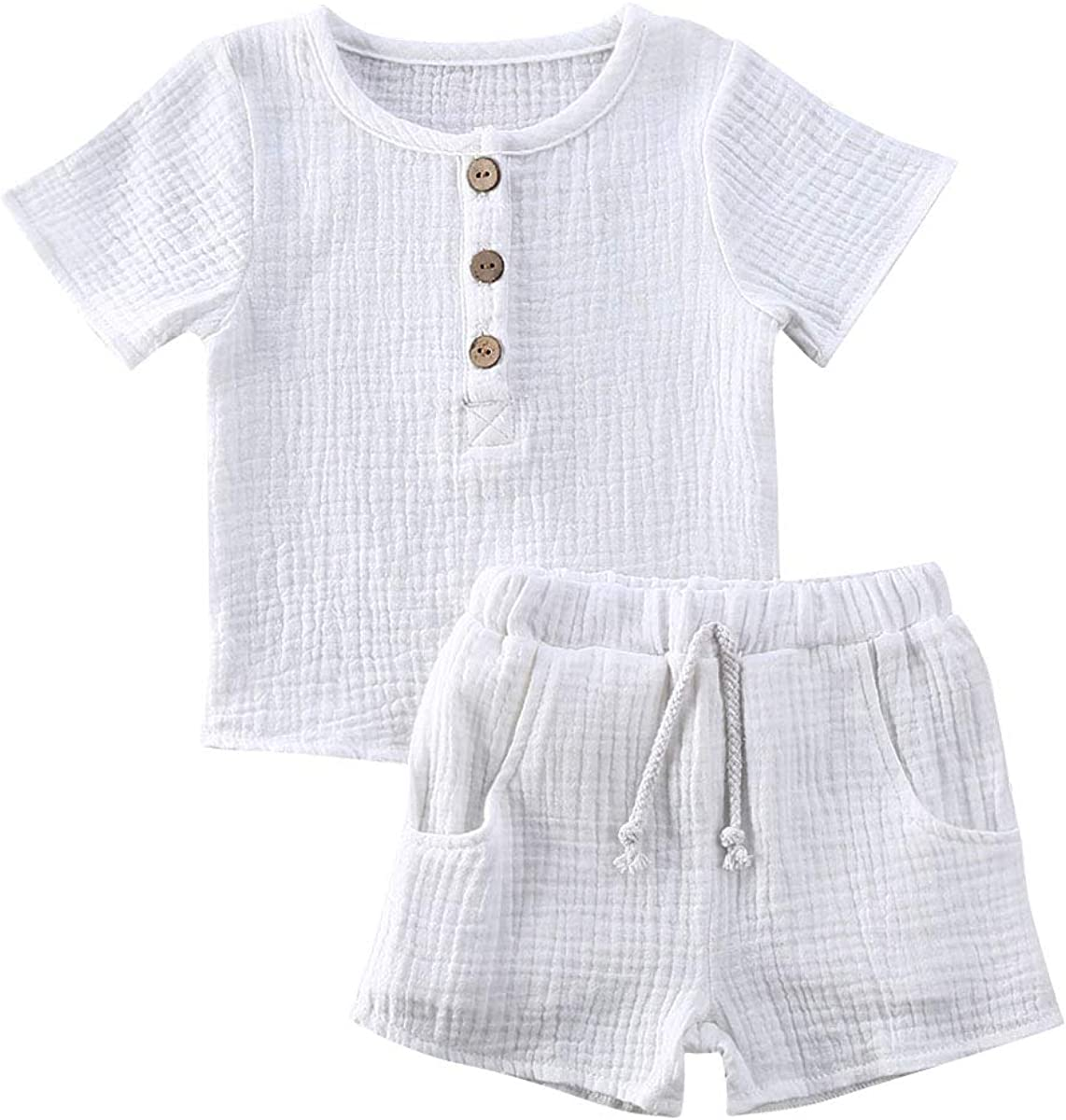 Kids Toddler Girls Summer Clothing Button Short-Sleeve Top Shirt+Drawstring Shorts Outfits Clothes