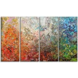 Designart PT6548-271 4 Panel ''Board Stained Art Abstract'' Canvas Art Print, Orange, 48x28''
