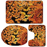 3 Piece Bath Mat Rug Set,Fall,Bathroom Non-Slip Floor Mat,Vibrant-Leaves-of-Autumn-Maple-Tree-Branches-with-Sunbeams-Seasonal-Nature,Pedestal Rug + Lid Toilet Cover + Bath Mat,Orange-Yellow-Brown