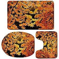 3 Piece Bath Mat Rug Set,Fall,Bathroom Non-Slip Floor Mat,Vibrant-Leaves-of-Autumn-Maple-Tree-Branches-with-Sunbeams-Seasonal-Nature,Pedestal Rug + Lid Toilet Cover + Bath Mat,Orange-Yellow-Brown