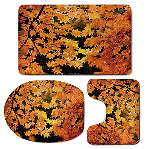 3 Piece Bath Mat Rug Set,Fall,Bathroom Non-Slip Floor Mat,Vibrant-Leaves-of-Autumn-Maple-Tree-Branches-with-Sunbeams-Seasonal-Nature,Pedestal Rug + Lid Toilet Cover + Bath Mat,Orange-Yellow-Brown by iPrint
