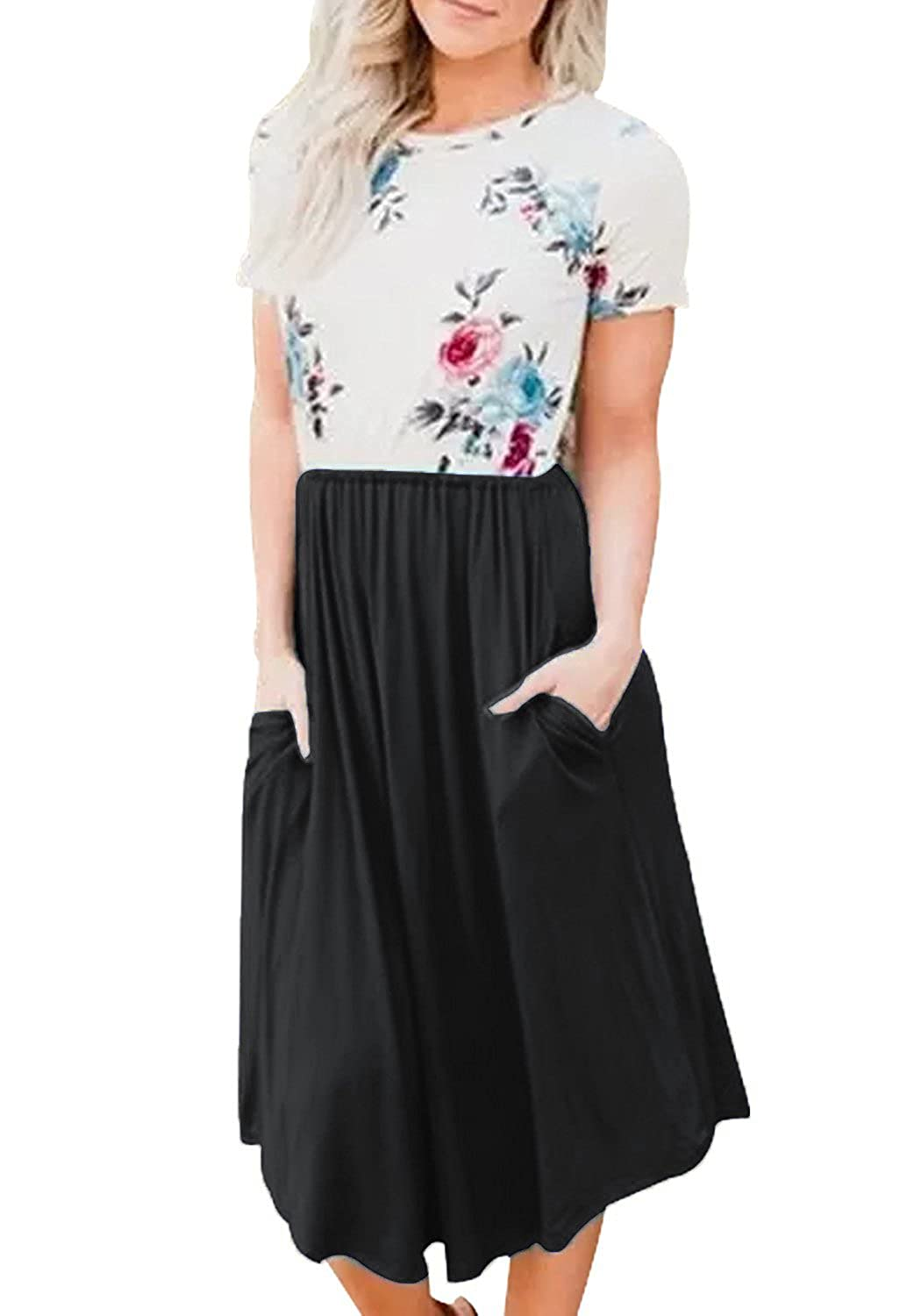 Black Yidarton Women Summer Short Sleeve Floral Print Patchwork Casual Pleated Midi Dress with Pockets