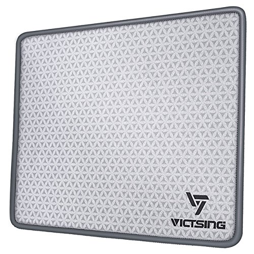 VicTsing Mouse Pad with Stitched Edge, Premium-Textured Mouse Mat, Non-Slip Rubber Base Mousepad for Laptop, Computer & PC, 10.2×8.3×0.08 inches, Grey