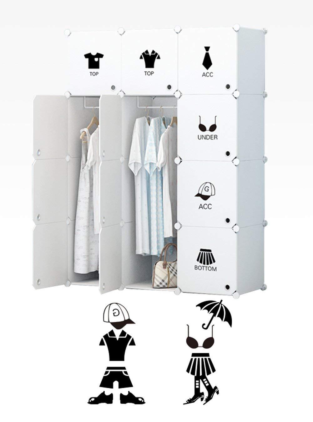 Koossy Erweiterbares Kleiderschrank Regalsystem für Kinderzimmer Wohnzimmer und Schlafzimmer (Weiß, 12 Cube)