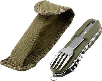 6 en 1 de acero inoxidable plegable portátil Camping cubertería herramienta desmontable viaje al aire libre utensilios de comer conjunto con soporte ...