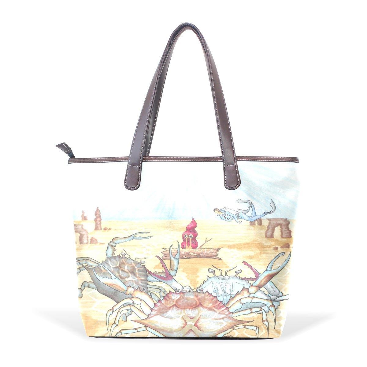 Ye Store Watercolor Crab Lady PU Leather Handbag Tote Bag Shoulder Bag Shopping Bag