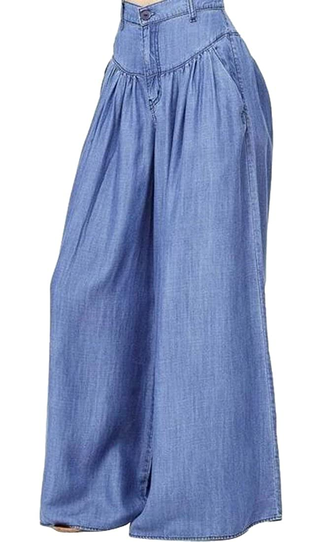 SHOWNO-Women Plus Size Pockets High Waist Denim Wide Leg Palazzo Pants Loose Jeans