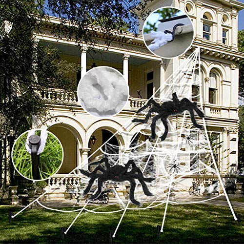 "Spider Webs Halloween Decorations, 2 pcs 20 "" Giant Spider + 23FTx18FT Huge Spider Web + 80g Stretch Web Component for Outdoor Halloween Decorations Yard Lawn Home Costumes Party Haunted House Decor"