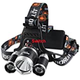 Boruit Rechargeable LED Headlamp with Cree T6 5000 Lumens RJ-3000 Head Lamp Silver Head