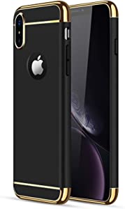 iPhone X/XS Case, CROSYMX 3 in 1 Ultra Thin and Slim Hard Case Coated Non Slip Matte Surface with Electroplate Frame for Apple iPhone X/XS(5.8'') - Black