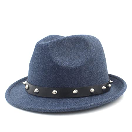 bcb086c1422b4 Sun hats- Fedora Hats For Winter Autumn Elegant Lady Dad Cashmere Trilby  Homburg Church Jazz Hat With Punk Belt (Color   Blue