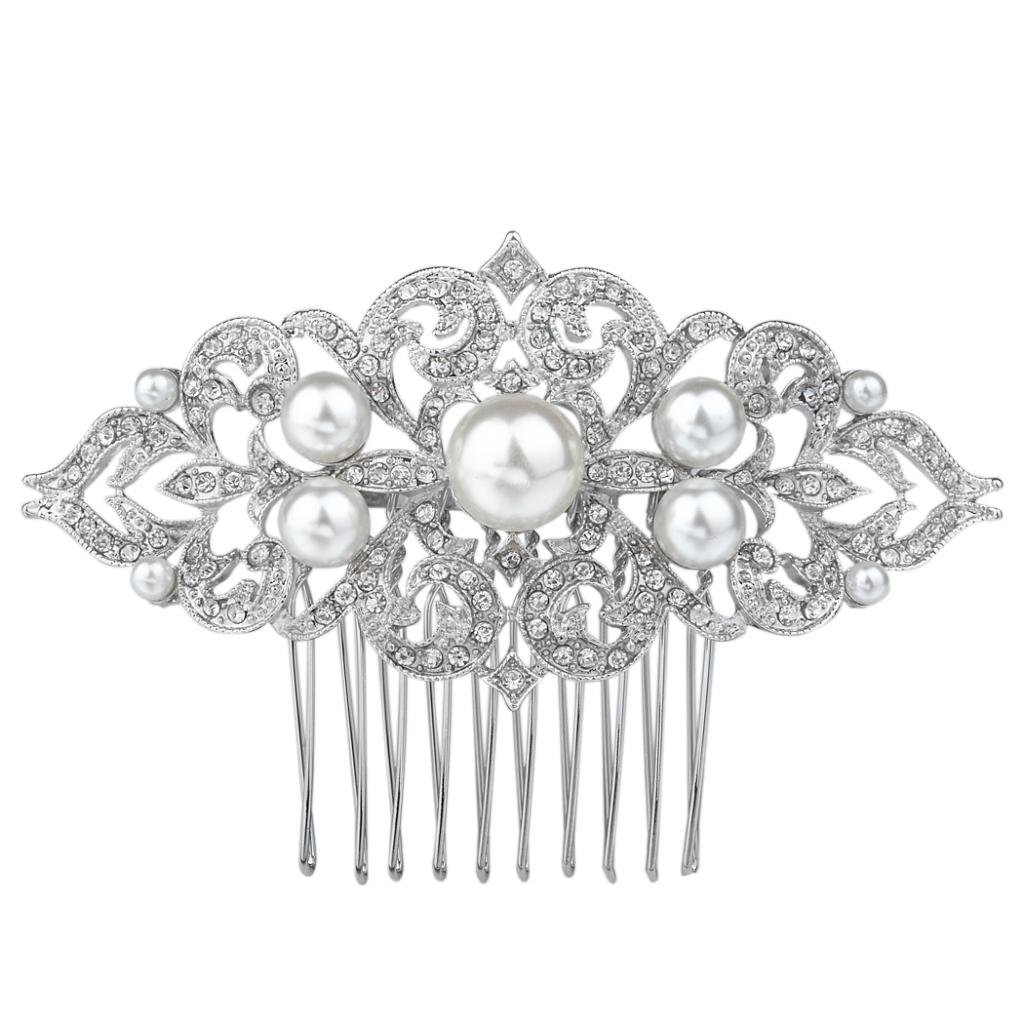 Ever Faith Silver-Tone Crystal Ivory Color Simulated Pearl Art Deco Wedding Hair Comb N04859-1