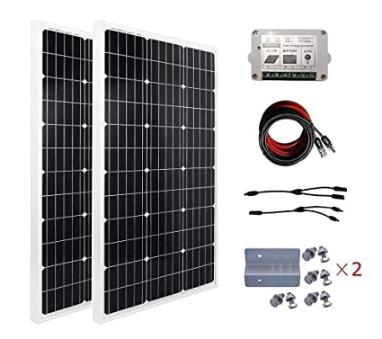 ECO-WORTHY 200W Solar Panel Kit: 2pcs 100 Watt Mono Solar Panel + Solar  Cable Adapter + 15A Charge Controller + Z Mounting Brackets for RV Boat