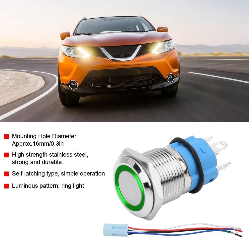 Aramox Push Button Switch,16mm 12V Waterproof Car LED Light Latching Self-locking Push Button Switch With Plug Green