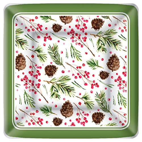 Boston International Square Paper Dessert Plates, 8-Count, 7 x 7-Inches, Pinecone Pattern ()