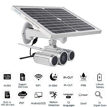 WWAVE Cámara de WiFi de la energía Solar 4G Starlight Night Vision Cámara de la energía