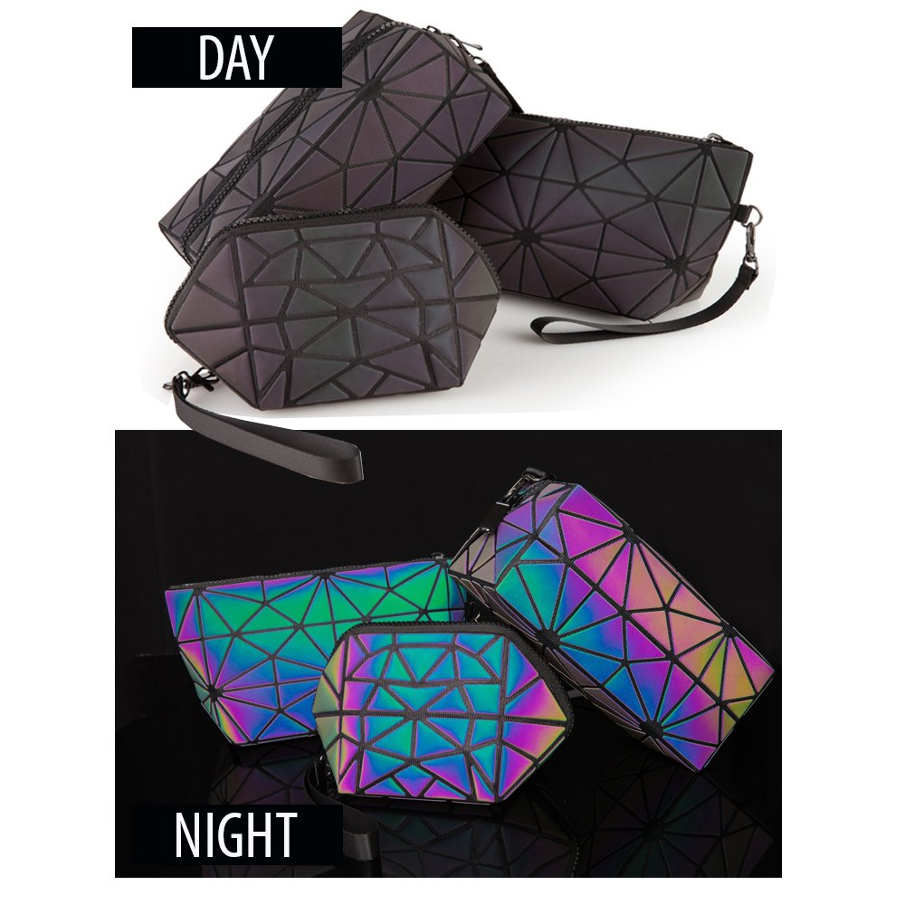 (FULL SET) - Pryzm Laser Makeup Bags WORLDS FIRST Light Reflective Material - GLOWS IN THE DARK - Travel Cosmetic Pouch Purse Glow Toiletry Organiser (FULL SET)
