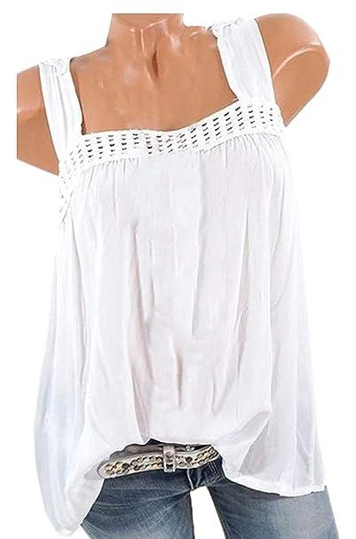 Señoras Summer Sling Tops Blusa Chaleco Moda Encaje Empalme Tops Tanktop Clásico Elegante Loose Casual T