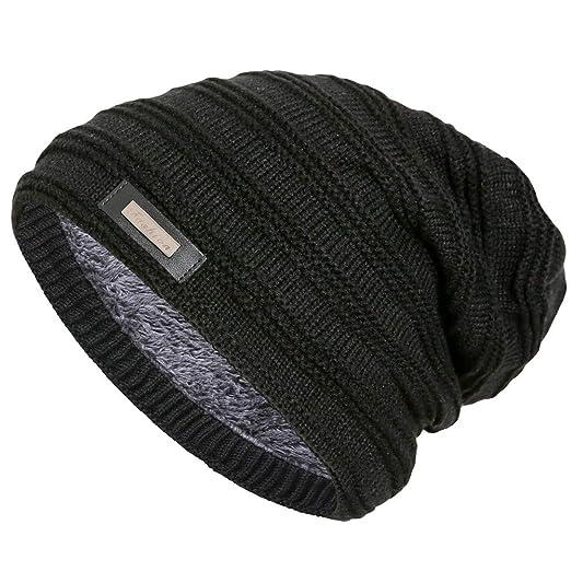 Doannotium Winter Beanie Hat Stripe Cap Slouchy Knit Skull Cap for Men and  Women Warm Thick 7c8b2495e010