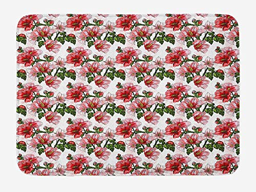 Weeosazg Ladybugs Bath Mat, Exotic Flowers Hibiscus Hawaiian Foliage Illustration Botany Spring Blossom, Plush Bathroom Decor Mat with Non Slip Backing, 23.6 W X 15.7 W Inches, Red Coral Green]()