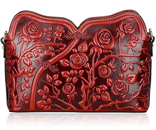 Pijushi Designer Floral Collection Leather Rose Clutch Handbags 22356 (One Size, Red Rose)