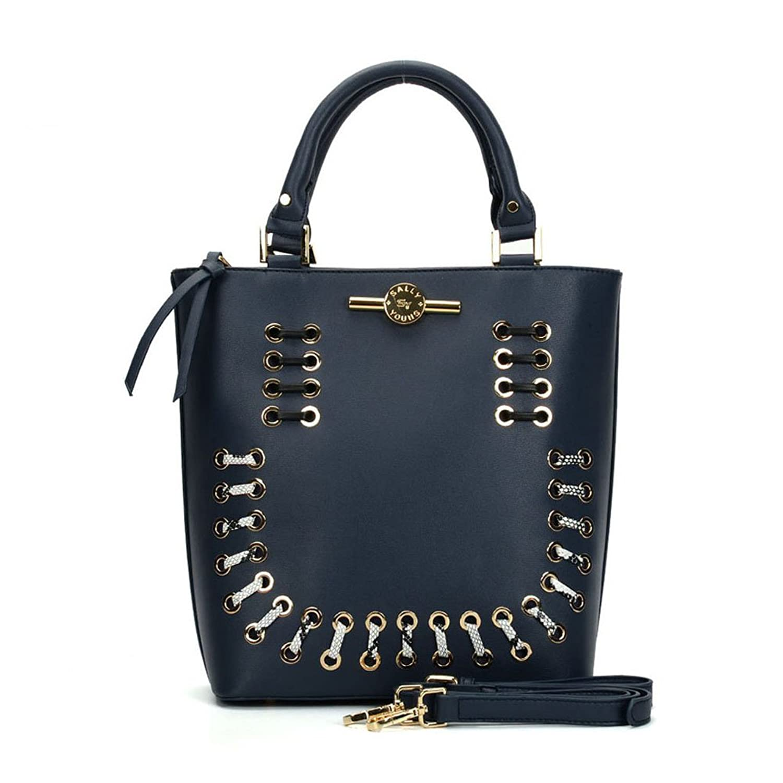 Sally Young Women PU Leather Handbag Fashion Zipper Shoulder Bags Top-Handle Tote Purse Bag