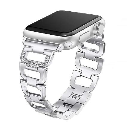 KKSY Correa de Reloj Cadena de Diamantes de Metal para ...