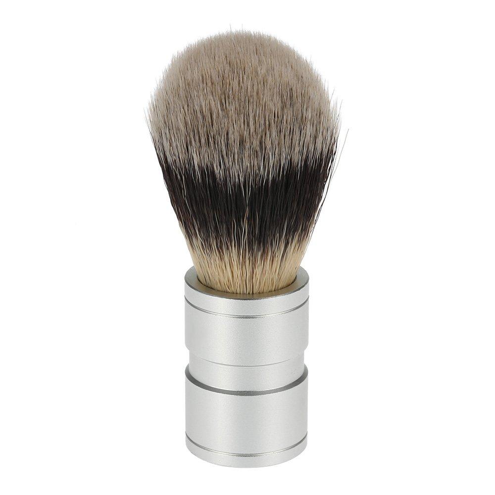 Anself Brocha de afeitar de los hombres de nilón metal manejan para barba y limpieza de cara herramienta auxiliar de la maquinilla