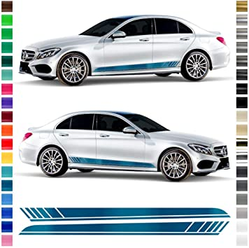 Auto Dress Seiten Streifen Aufkleber Set Dekor Passend Für Mercedes C Klasse W205 S205 In Wunschfarbe Motiv Amg Original Farbwunsch Auto