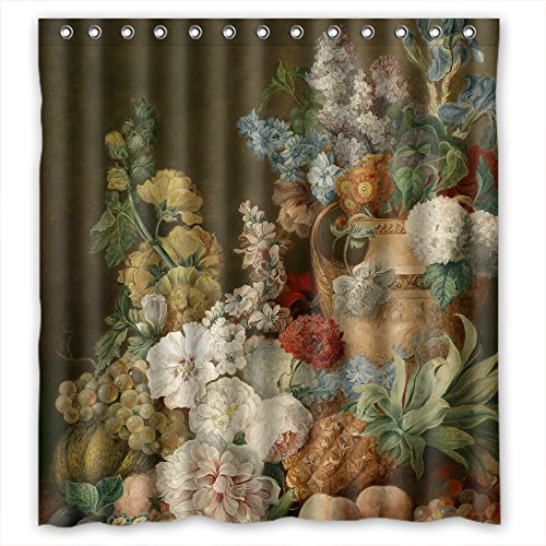 Eyeselect Polyester Bath Curtains Of Famous Classic Art Painting Flowers Blossoms For Artwork Boys Kids Girl Lover. Easy Clean Width X Height / 72 X 72 Inches / W H 180 By 180 (Shader Clock)