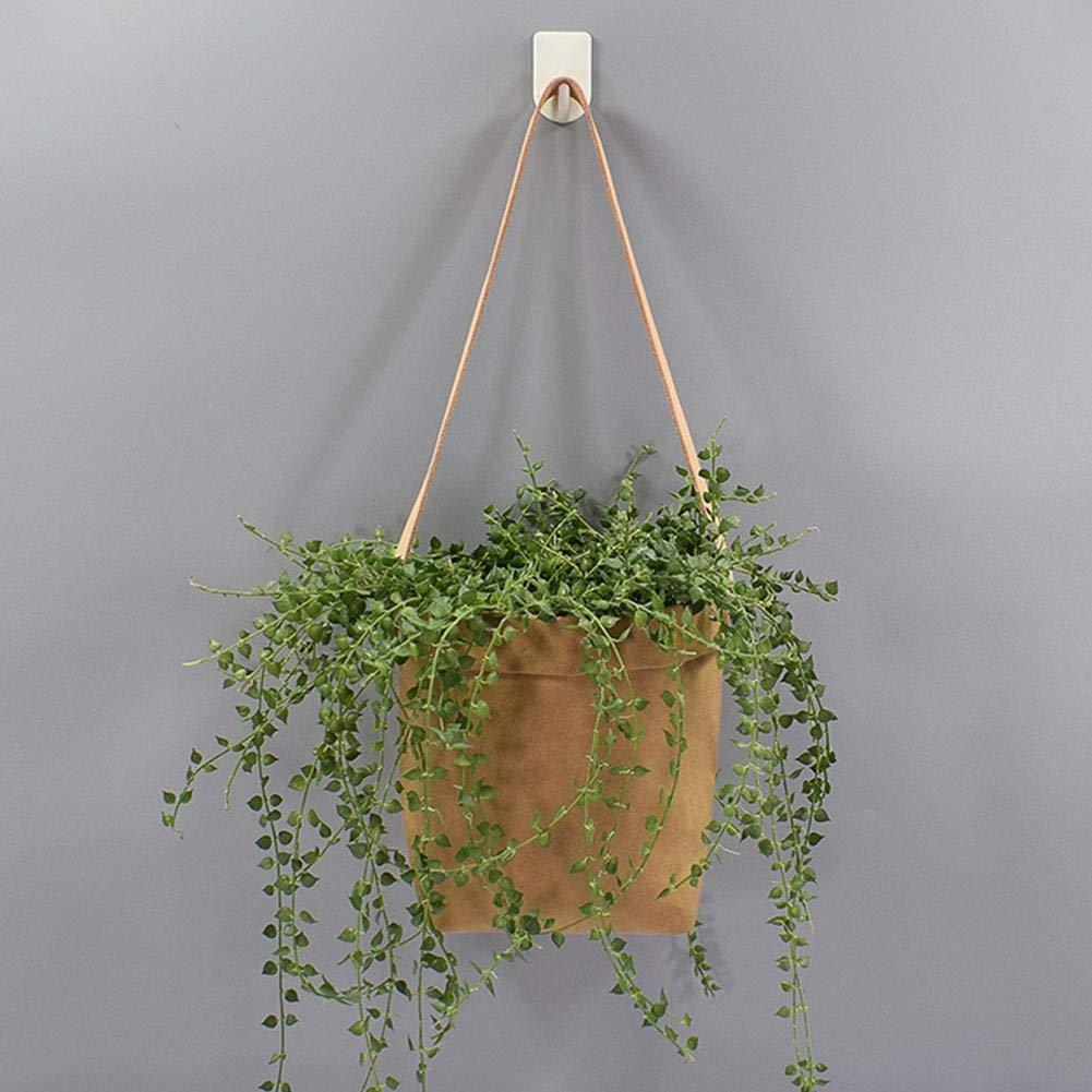 Hete-supply Pochettes /à Fleurs suspendues Sac de Papier /à Suspendre en Papier Kraft innovant avec dragonne en Cuir pour orchid/ée Air Ananas Plantes Vertes succulentes Fourre-Tout
