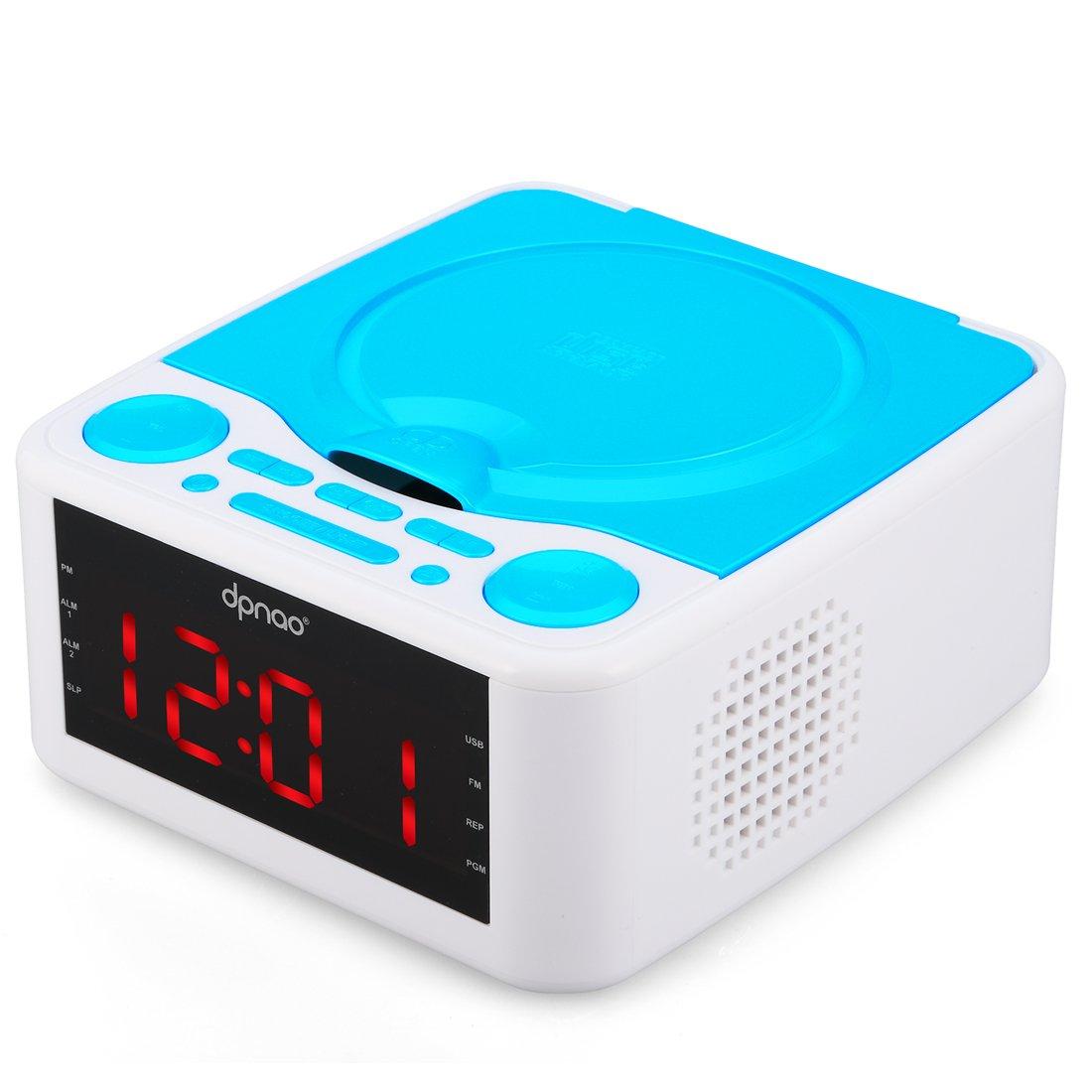 DPNAO CD Player with USB FM Radio Clock Dual Alarm Remote Headphone Home Audio System (Blue)