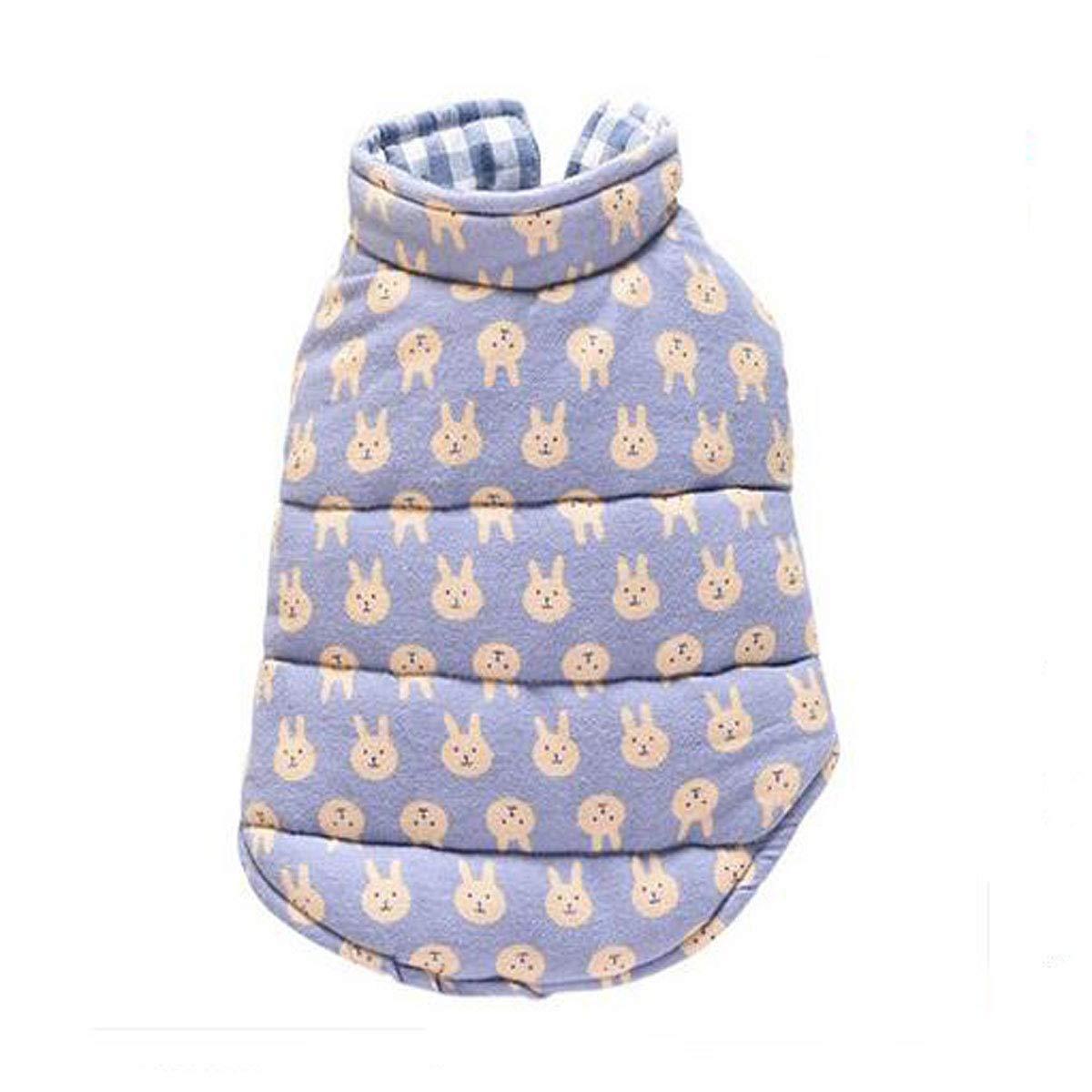 bluee XL bluee XL Pet Teddy Bear, Small Dog Pet Cat, Autumn Cotton Vest (color   bluee, Size   XL)