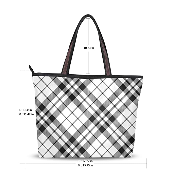 3131b4a6db6f Amazon.com: Black And White Diagonal Checkered Travel Shopping ...