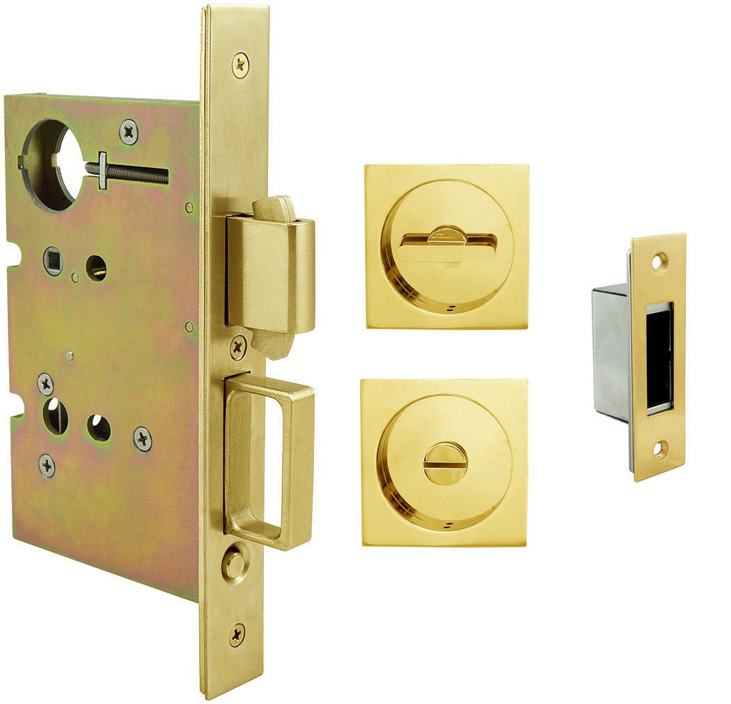INOX FH23PD8440-234-38 Mortise Pocket Door Privacy Lock with 2-3//4-Inch Backset Aged Brass Thumb Turn and Coin Turn